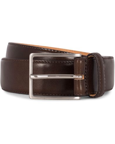 Morris Heritage Leather 3,5 cm Belt Dark Brown i gruppen Assesoarer / Belter / Umønstrede belter hos Care of Carl (12211911r)