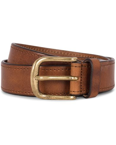 Morris Leather 3,5 cm Jeans Belt Brown i gruppen Accessoarer / Bälten / Släta bälten hos Care of Carl (12212311r)