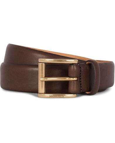 Morris Leather 3 cm Belt Brown i gruppen Assesoarer / Belter / Umønstrede belter hos Care of Carl (12212411r)
