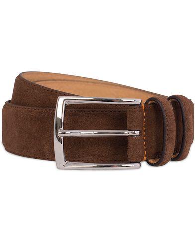 Morris Suede 3,5 cm Belt Brown i gruppen Accessoarer / Bälten / Släta bälten hos Care of Carl (12212711r)