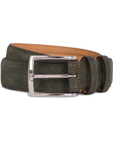 Morris Suede 3,5 cm Belt Olive i gruppen Accessoarer / Bälten / Släta bälten hos Care of Carl (12213011r)