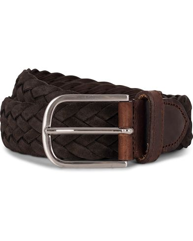 Morris Heritage Braided Suede 4 cm Belt Dark Brown i gruppen Assesoarer / Belter / Flettede belter hos Care of Carl (12213211r)