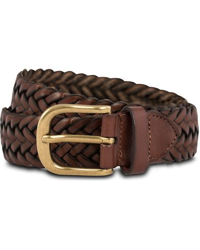 Morris Braided Leather 4 cm Belt Cognac i gruppen Accessoarer / B�lten hos Care of Carl (12215711r)