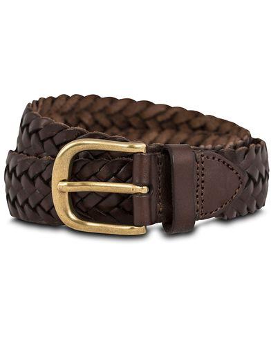 Morris Braided Leather 4 cm Belt Dark Brown i gruppen Assesoarer / Belter hos Care of Carl (12215811r)