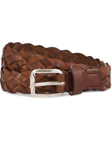 Oscar Jacobson Braided 2,5 cm Belt Brown i gruppen Accessoarer / B�lten hos Care of Carl (12216411r)