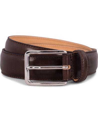 J.Lindeberg S-Belt 52003 Cow Leather 3 cm Dark Brown i gruppen Assesoarer / Belter / Umønstrede belter hos Care of Carl (12217111r)