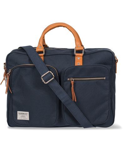 Sandqvist Arne Cordura/Leather Breifcase Blue  i gruppen Väskor / Portföljer hos Care of Carl (12222310)