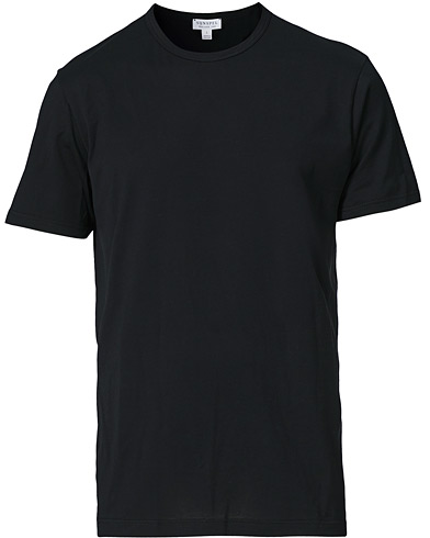 Sunspel Crew Neck Cotton Tee Black i gruppen T-Shirts / Kort�rmad T-shirt hos Care of Carl (12245311r)