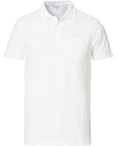 Sunspel Riviera Polo Shirt White i gruppen Pikéer / Kortermet piké hos Care of Carl (12245711r)