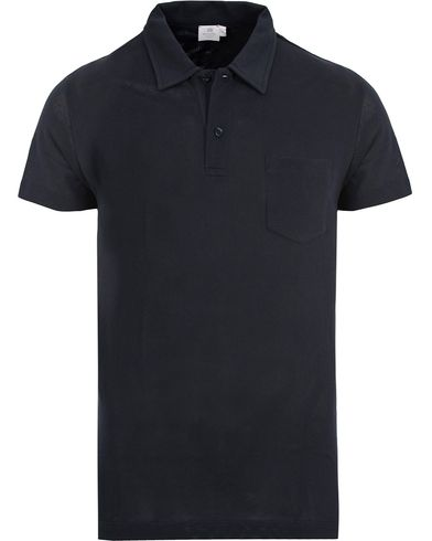 Sunspel Riviera Polo Shirt Navy i gruppen Pikéer / Kortärmade pikéer hos Care of Carl (12245811r)