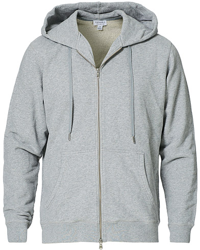 Sunspel Zip Front Hoody Grey Melange i gruppen Kläder / Tröjor / Huvtröjor hos Care of Carl (12246411r)