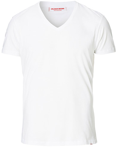Orlebar Brown OB V-Neck Tee White i gruppen Klær / T-Shirts / Kortermede t-shirts hos Care of Carl (12283111r)