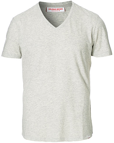 Orlebar Brown OB V-Neck Tee Grey Melange i gruppen T-Shirts / Kortermede t-shirts hos Care of Carl (12283311r)