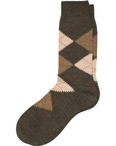 Pantherella Racton Argyle Merino/Nylon Sock Dark Olive i gruppen Underkläder / Strumpor / Vanliga strumpor hos Care of Carl (12287011r)