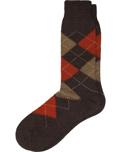 Pantherella Racton Argyle Merino/Nylon Sock Dark Brown i gruppen Kläder / Underkläder hos Care of Carl (12287111r)