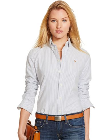 Polo Ralph Lauren Woman Harper Stripe Oxford Shirt Blue/white i gruppen Julklappstips / Alla julklappstips hos Care of Carl (12289011r)