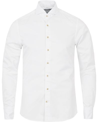 Stenstr�ms Slimline Washed Cotton Plain Shirt White i gruppen Skjorter / Casual Skjorter hos Care of Carl (12291311r)