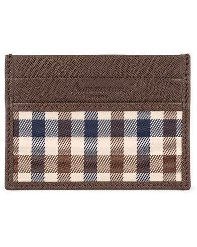 Aquascutum Club Check Credit Card Holder Brown  i gruppen Accessoarer / Plånböcker / Korthållare hos Care of Carl (12293310)