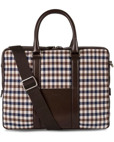 Aquascutum Club Check Laptop Bag Brown  i gruppen Assesoarer / Vesker / Dokumentvesker hos Care of Carl (12293510)