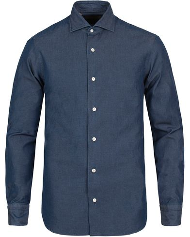 Barba Napoli Dandylife Slim Fit Denim Shirt  Dark Wash i gruppen Skjorter / Jeansskjorter hos Care of Carl (12297911r)