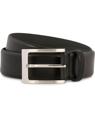 BOSS Barnabie Leather Belt 3,5 cm Black i gruppen Accessoarer / Bälten / Släta bälten hos Care of Carl (12309611r)
