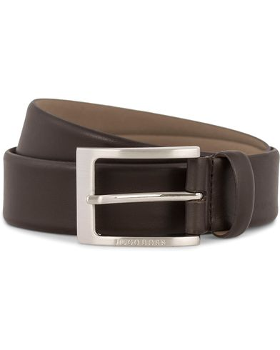 BOSS Barnabie Leather Belt 3,5 cm Dark Brown i gruppen Assesoarer / Belter / Umønstrede belter hos Care of Carl (12309711r)