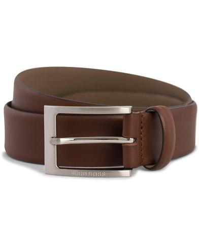 BOSS Barnabie Leather Belt 3,5 cm Medium Brown i gruppen Assesoarer / Belter / Umønstrede belter hos Care of Carl (12309811r)