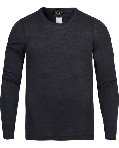 Hanro Long Sleeve Wool/Silk Tee Antracite i gruppen Undertøy / Pyjamaser / Pyjamasgensere hos Care of Carl (12313011r)