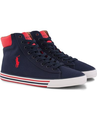 Polo Ralph Lauren Harvey Mid Sneaker Navy/Red i gruppen Sko / Sneakers / Sneakers med høyt skaft hos Care of Carl (12401611r)