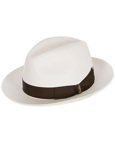 Borsalino Panama Fine With Medium Brim White Brown Ribbon i gruppen Assesoarer / Caps / Hatter hos Care of Carl (12418111r)