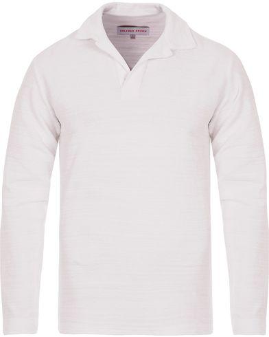 Orlebar Brown Archie Long Sleeve Polo White i gruppen Kläder / Pikéer / Långärmade pikéer hos Care of Carl (12419511r)