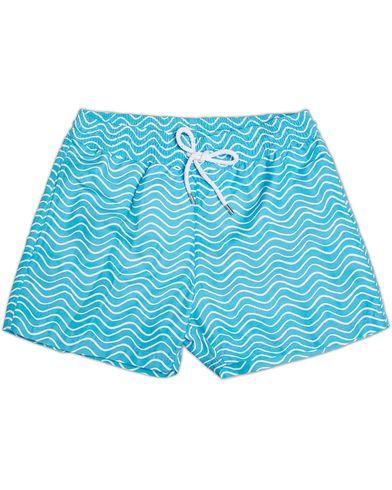Frescobol Carioca Short Sport Swim Trunk Ondas Print Aqua/White i gruppen Klær / Badeshorts hos Care of Carl (12420611r)