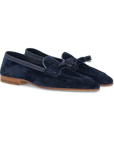 Edward Green Portland I Tassel Travel Slipper Navy i gruppen Skor / Loafers hos Care of Carl (12421911r)