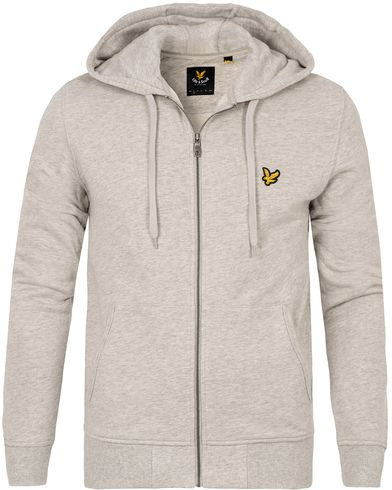 Lyle & Scott Zip Through Hoodie Light Grey Marl i gruppen Tröjor / Huvtröjor hos Care of Carl (12469511r)