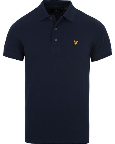 Lyle & Scott Plain Pique Polo Shirt Navy i gruppen Klær / Pikéer / Kortermet piké hos Care of Carl (12473011r)