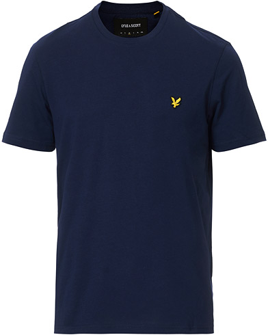 Lyle & Scott Plain Crew Neck Cotton T-Shirt Navy i gruppen Klær / T-Shirts / Kortermede t-shirts hos Care of Carl (12473811r)