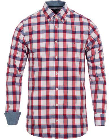 Tommy Hilfiger Slim Fit Ramone Dobby Check Shirt Surf/Tomato i gruppen Design A / Skjortor / Casual skjortor hos Care of Carl (12478011r)