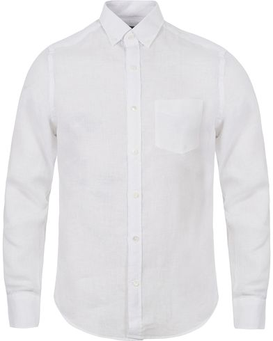 Gant Diamond G Lux Linen Fitted Body Shirt White i gruppen Skjortor / Linneskjortor hos Care of Carl (12502011r)