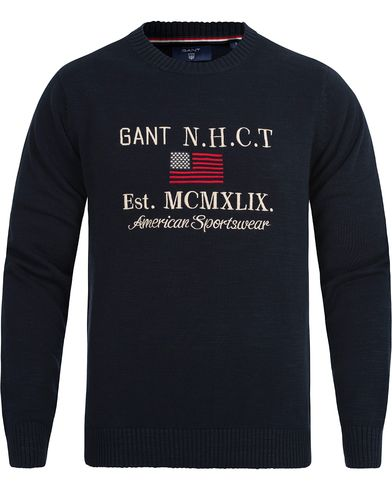 Gant Natural Cotton Flag Crew Neck Evening Blue i gruppen Tröjor / Stickade tröjor hos Care of Carl (12506011r)