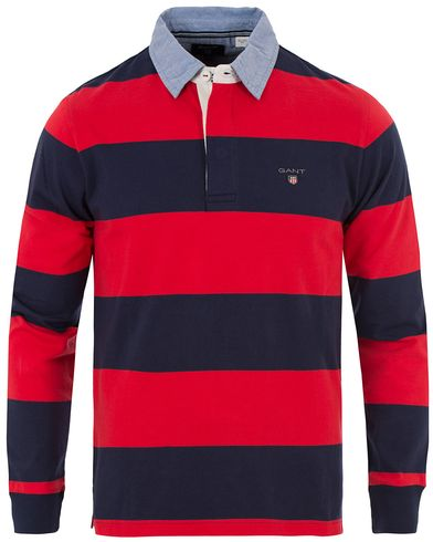 Gant The Original Barstripe Rugger Bright Red i gruppen Tröjor / Rugbytröjor hos Care of Carl (12511111r)