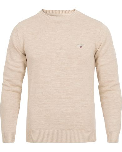 Gant Natural Cotton Crew Neck Light Sand Melange i gruppen Gensere / Pullover / Pullovere rund hals hos Care of Carl (12517311r)