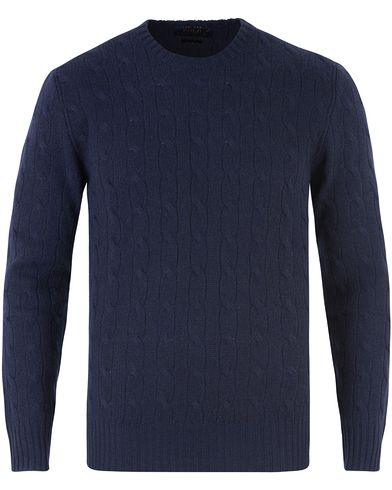Polo Ralph Lauren Knitted Cable Cashmere Sweatshirt Bright Navy i gruppen Gensere / Strikkede gensere hos Care of Carl (12546811r)