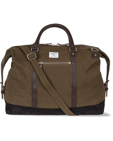 Sandqvist Jordan Canvas Weekendbag Waxed Olive  i gruppen Vesker / Weekendbager hos Care of Carl (12585910)