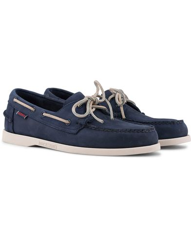 Sebago Docksides Navy Nubuck i gruppen Sko / Seilersko hos Care of Carl (12593711r)