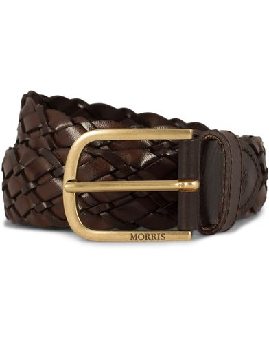 Morris Heritage Braided Double Leather 3,5 cm Belt Dark Brown i gruppen Assesoarer / Belter hos Care of Carl (12621211r)