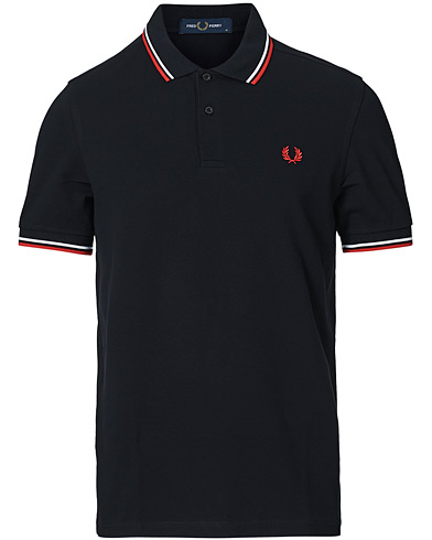 Fred Perry Slim Fit Polo Twin Tip Navy i gruppen Pikéer / Kortärmade pikéer hos Care of Carl (12626311r)