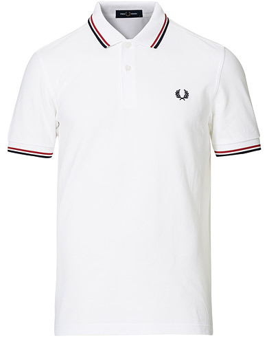 Fred Perry Slim Fit Polo Twin Tip White i gruppen Klær / Pikéer / Kortermet piké hos Care of Carl (12626611r)