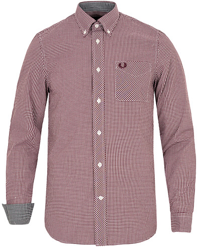 Fred Perry Classic Fit Gingham Shirt Mahogany i gruppen Skjortor / Casual skjortor hos Care of Carl (12627411r)
