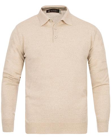 Morris Heritage Long Sleeve Polo Shirt Off White i gruppen Kläder / Tröjor / Pullovers / Pullovers med knappkrage hos Care of Carl (12636411r)