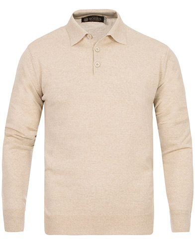 Morris Heritage Long Sleeve Polo Shirt Off White i gruppen Tröjor / Pullovers / Pullovers med knappkrage hos Care of Carl (12636411r)